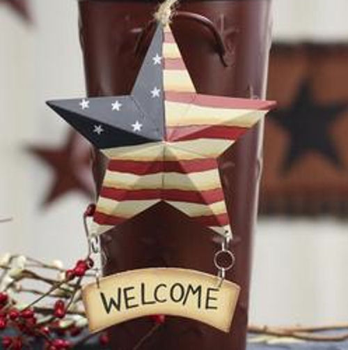 Americana flag metal barn star with wood welcome sign for Patriotic welcome home decorations